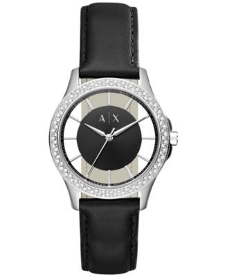 A|X Armani Exchange Women's Lady Hampton Black Leather Strap Watch 36mm AX5253