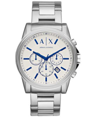 A|X Armani Exchange Men's Chronograph Outerbanks Stainless Steel Bracelet Watch 44mm AX2510