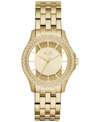 A|X Armani Exchange Women's Lady Hampton Gold-Tone Stainless Steel Bracelet Watch 36mm AX5251