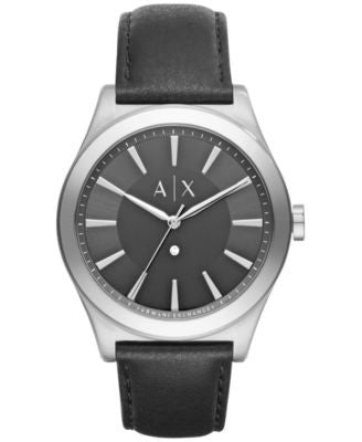 A|X Armani Exchange Men's Nico Diamond Accent Black Leather Strap Watch 44mm AX2325