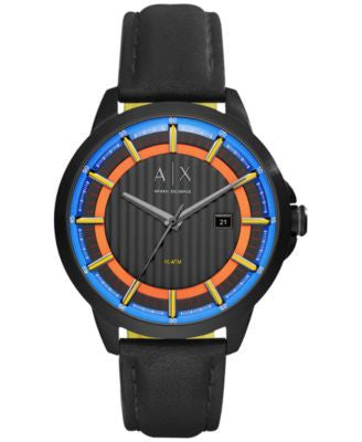 A|X Armani Exchange Men's Copeland Black Leather Strap Watch 44mm AX2265
