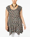 American Rag Trendy Plus Size Printed Handkerchief-Hem Tunic, Only at Vogily