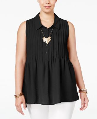 American Rag Trendy Plus Size Sleeveless Pintucked Blouse, Only at Vogily