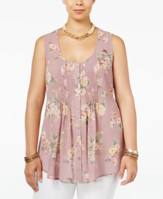 American Rag Trendy Plus Size Sheer Printed Blouse, Only at Vogily