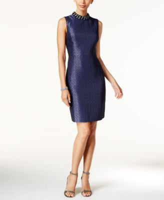 Ivanka Trump Embellished Mock Neck Jacquard Sheath Dress