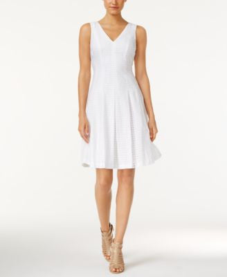 Anne Klein Eyelet Pleated Fit & Flare Dress