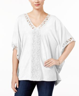 JM Collection Crochet-Trim Poncho Top, Only at Vogily