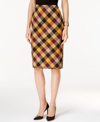 Grace Elements Plaid Pencil Skirt