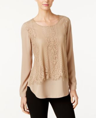 NY Collection Lace Popover Blouse