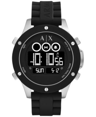 A|X Armani Exchange Men's Digital Wellworn Black Silicone Strap Watch 48mm AX1560