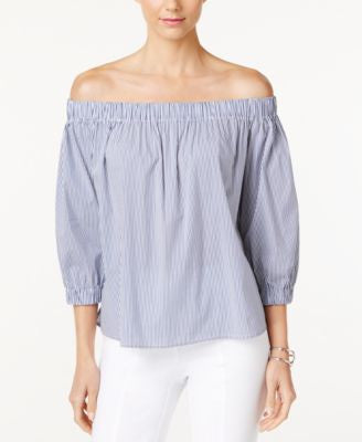 Marled Striped Off-The-Shoulder Top