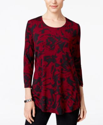JM Collection Printed Scoop-Neck Top, Only at Vogily