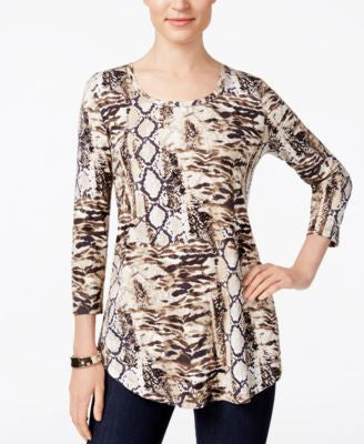 JM Collection Animal-Print Top, Only at Vogily