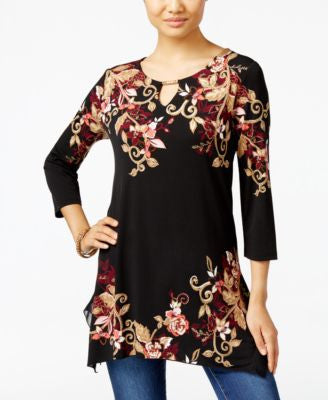 JM Collection Floral-Print Handkerchief-Hem Tunic, Only at Vogily