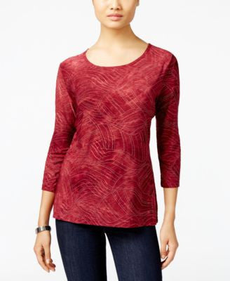 JM Collection Tie-Dyed Embellished Jacquard Top, Only at Vogily