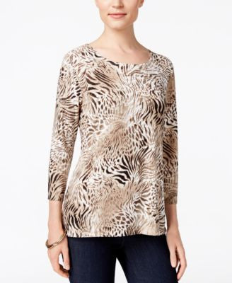 JM Collection Animal-Print Jacquard Top, Only at Vogily