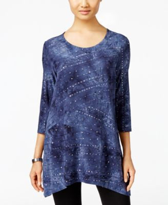JM Collection Tie-Dyed Sequined Tunic, Only at Vogily