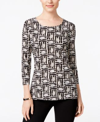 JM Collection Printed Jacquard Top, Only at Vogily