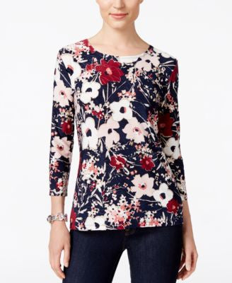 JM Collection Floral-Print Jacquard Top, Only at Vogily