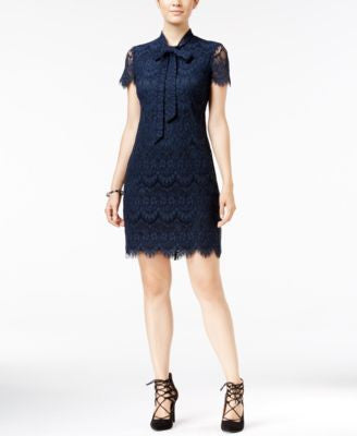 Betsey Johnson Lace Tie-Neck Shift Dress