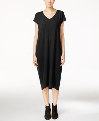 Eileen Fisher Petite V-Neck Midi Dress
