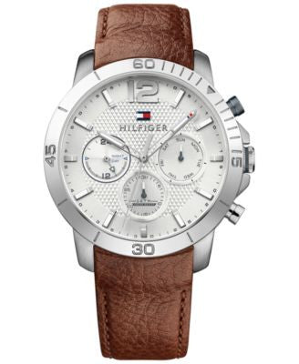 Tommy Hilfiger Men's Sophisticated Sport Brown Leather Strap Watch 44mm 1791270