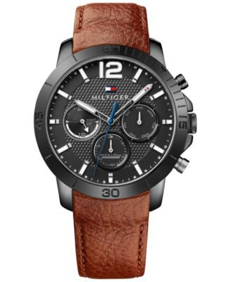 Tommy Hilfiger Men's Sophisticated Sport Brown Leather Strap Watch 44mm 1791269
