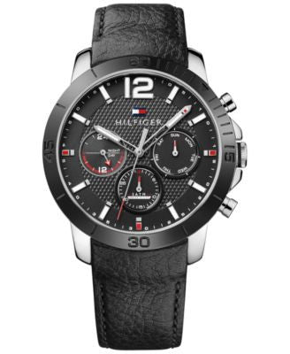 Tommy Hilfiger Men's Sophisticated Sport Black Leather Strap Watch 44mm 1791268