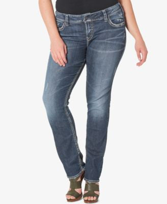 Silver Jeans Plus Size Suki Medium Wash Straight-Leg Jeans