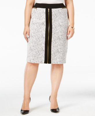 Calvin Klein Plus Size Exposed-Zip Textured Pencil Skirt