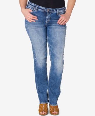 Silver Jeans Plus Size Aiko Light Wash Straight-Leg Jeans