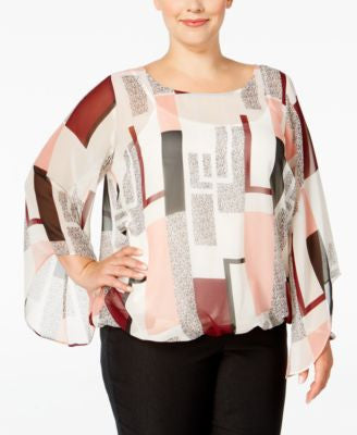 Alfani Plus Size Chiffon Angel-Sleeve Blouse, Only at Vogily