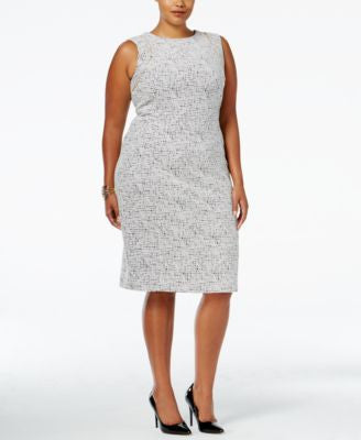Calvin Klein Plus Size Zip-Trim Textured Sheath Dress