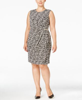 Calvin Klein Plus Size Sleeveless Faux-Wrap Dress