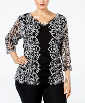 INC International Concepts Plus Size Printed Mesh Blouse, Only at Vogily