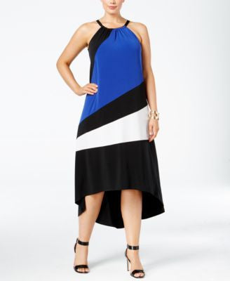 INC International Concepts Plus Size Colorblocked High-Low Dress, Only at Vogily