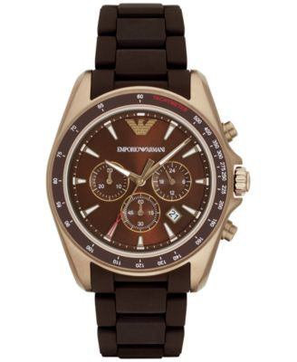 Emporio Armani Men's Chronograph Sigma Dark Brown Silicone Wrapped Stainless Steel Bracelet Watch 44