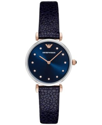 Emporio Armani Women's Gianni T-Bar Blue Leather Strap Watch 32mm AR1989