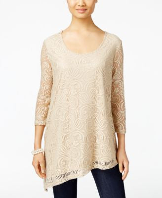JM Collection Lace Asymmetrical-Hem Top, Only at Vogily
