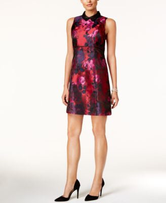 Ivanka Trump Collared Floral Print A-Line Dress