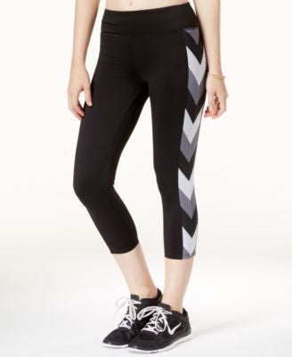 Jessica Simpson The Warm Up Printed Mesh-Trim Cropped Leggings, Only at Vogily