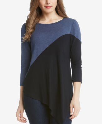 Karen Kane Colorblocked Asymmetrical Top