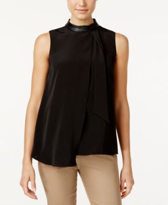 Calvin Klein Asymmetrical Faux-Leather-Trim Blouse