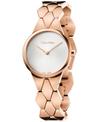 Calvin Klein Women's Swiss Snake Rose Gold-Tone PVD Stainless Steel Bracelet Watch 28mm K6E23646