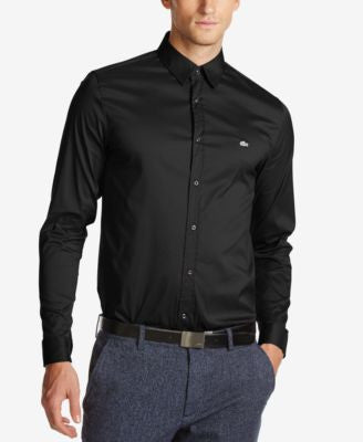 Lacoste Men's Slim-Fit Stretch-Poplin Long-Sleeve Shirt
