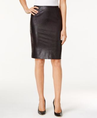 Calvin Klein Distressed Faux-Leather Pencil Skirt