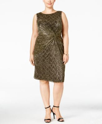 Calvin Klein Plus Size Metallic Twist-Front Sheath Dress