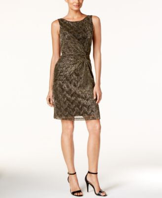 Calvin Klein Petite Metallic Twist-Front Sheath Dress