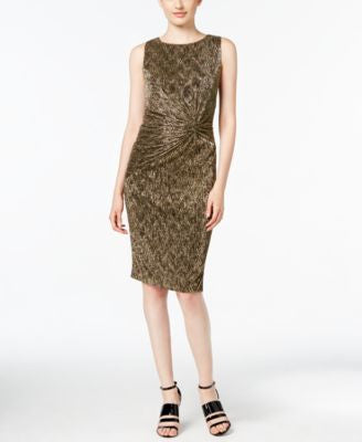 Calvin Klein Textured Metallic Twist-Front Dress