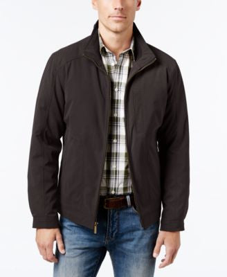 London Fog Men's Knit-Trim Microfiber Jacket